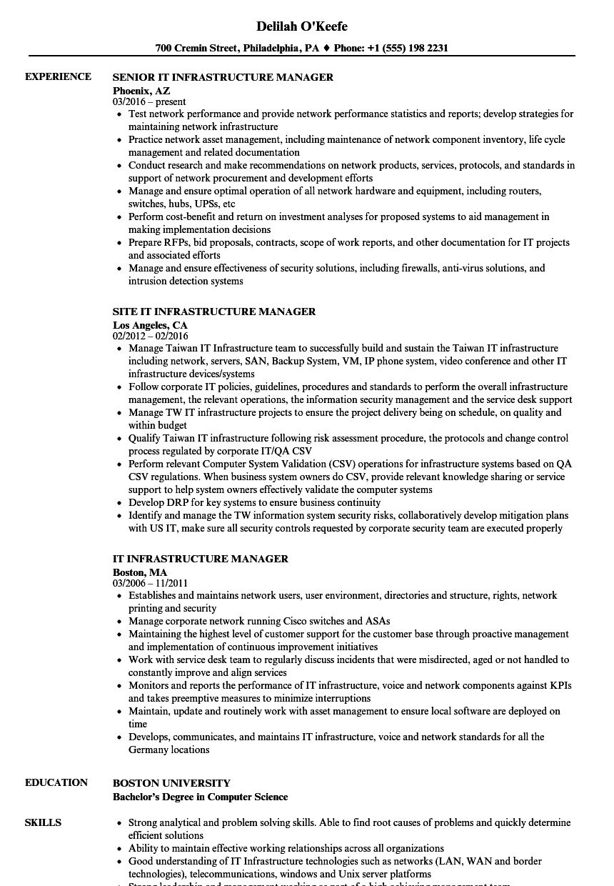 Wonderful Download IT Infrastructure Manager Resume Sample As Image File