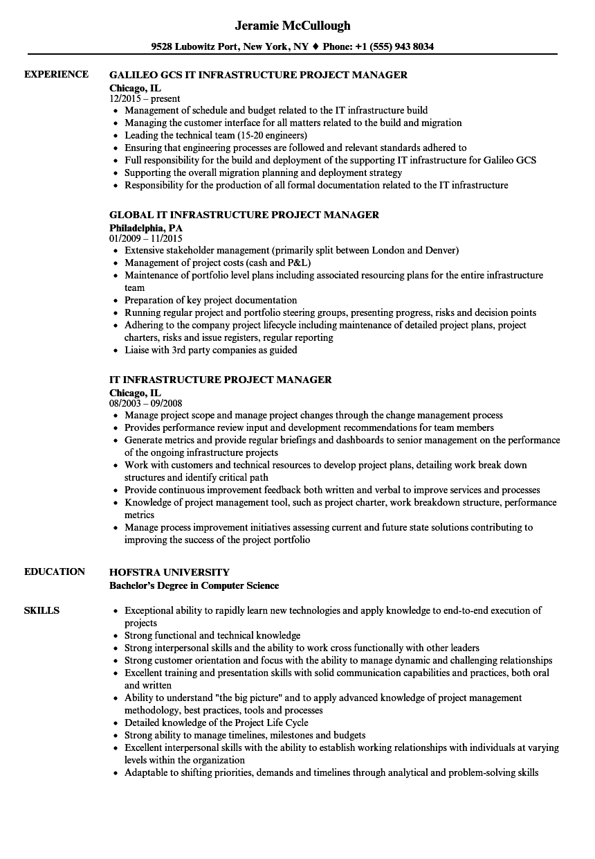 IT Infrastructure Project Manager Resume Samples | Velvet Jobs