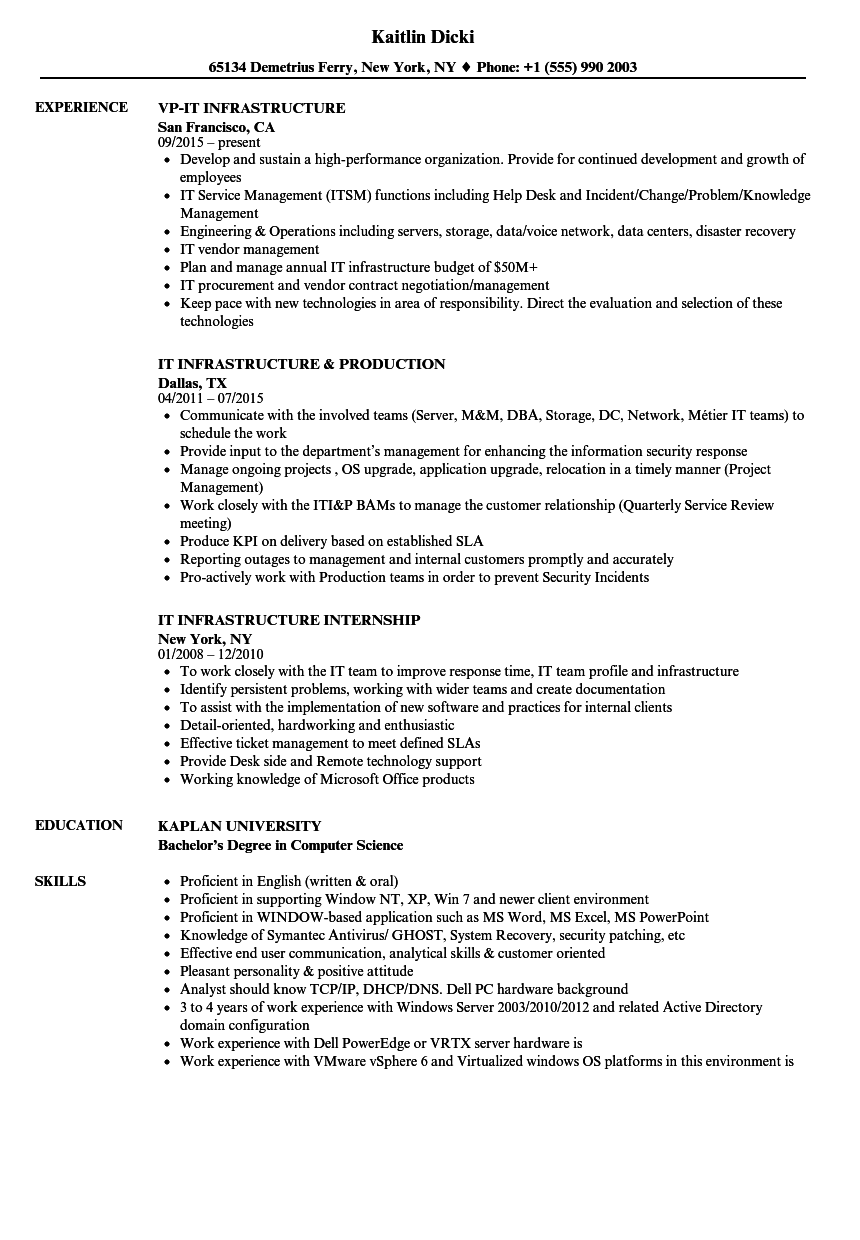 it infrastructure resume