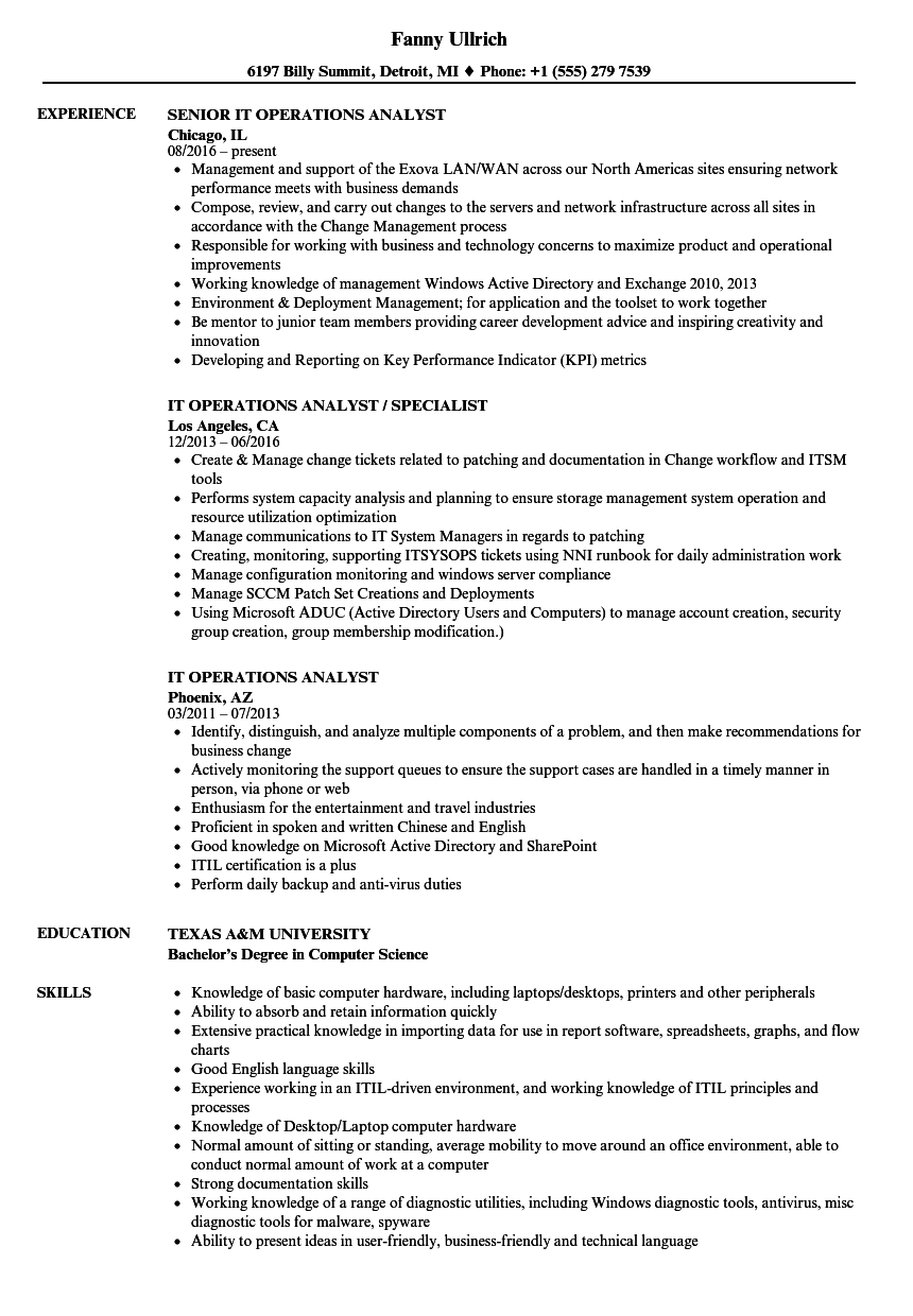 It Operations Analyst Resume Samples Velvet Jobs