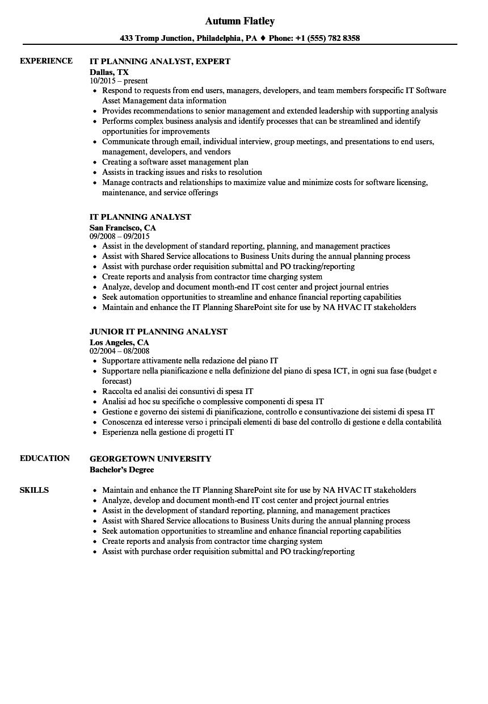 It Planning Analyst Resume Samples Velvet Jobs