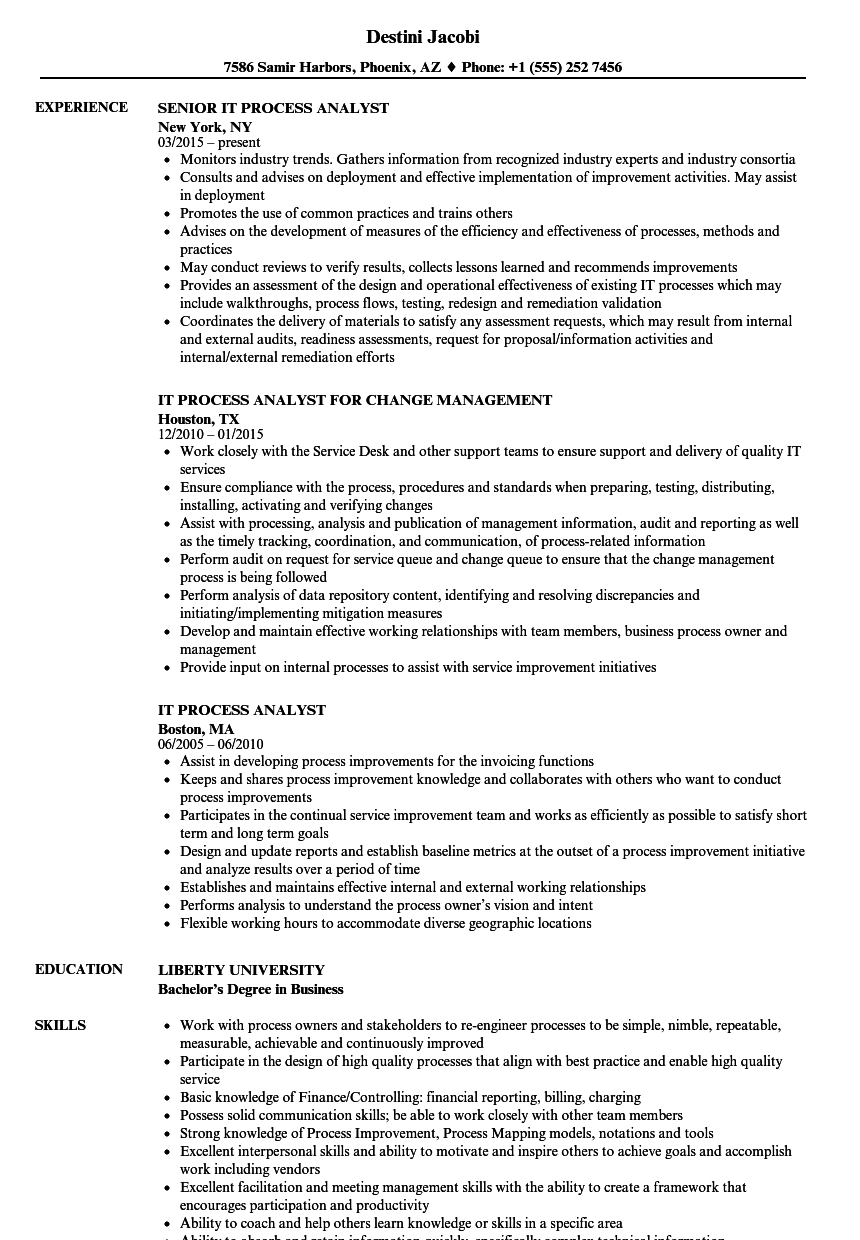 IT Process Analyst Resume Samples | Velvet Jobs