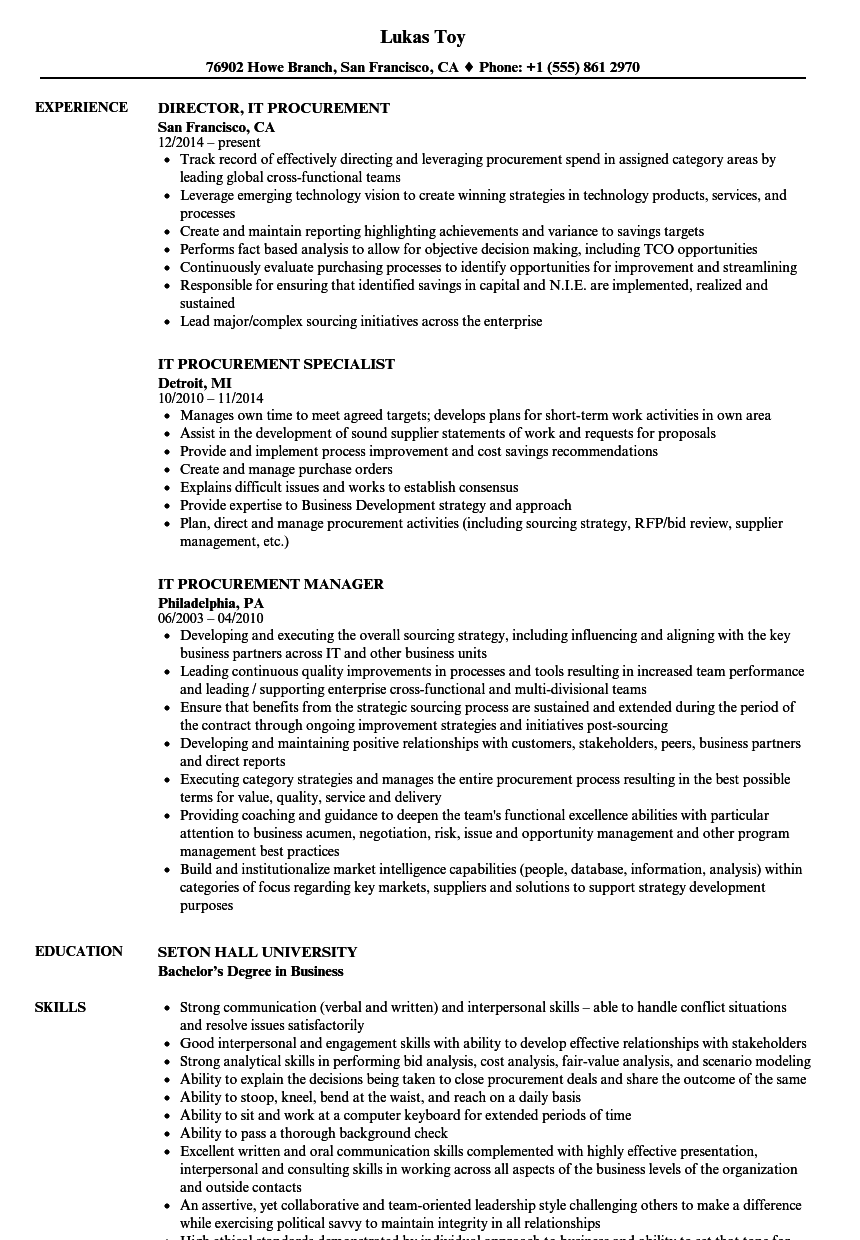IT Procurement Resume Samples | Velvet Jobs