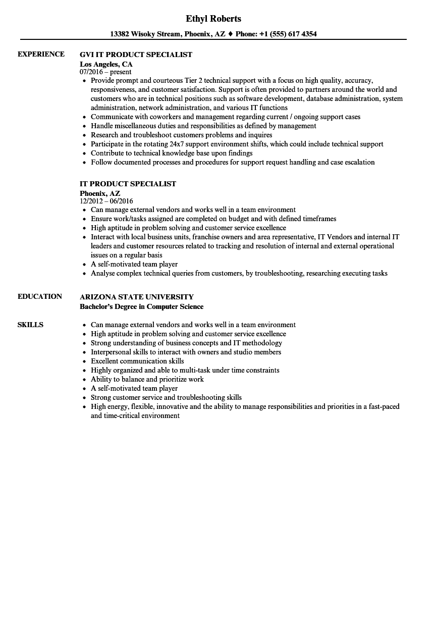 It Product Specialist Resume Samples Velvet Jobs