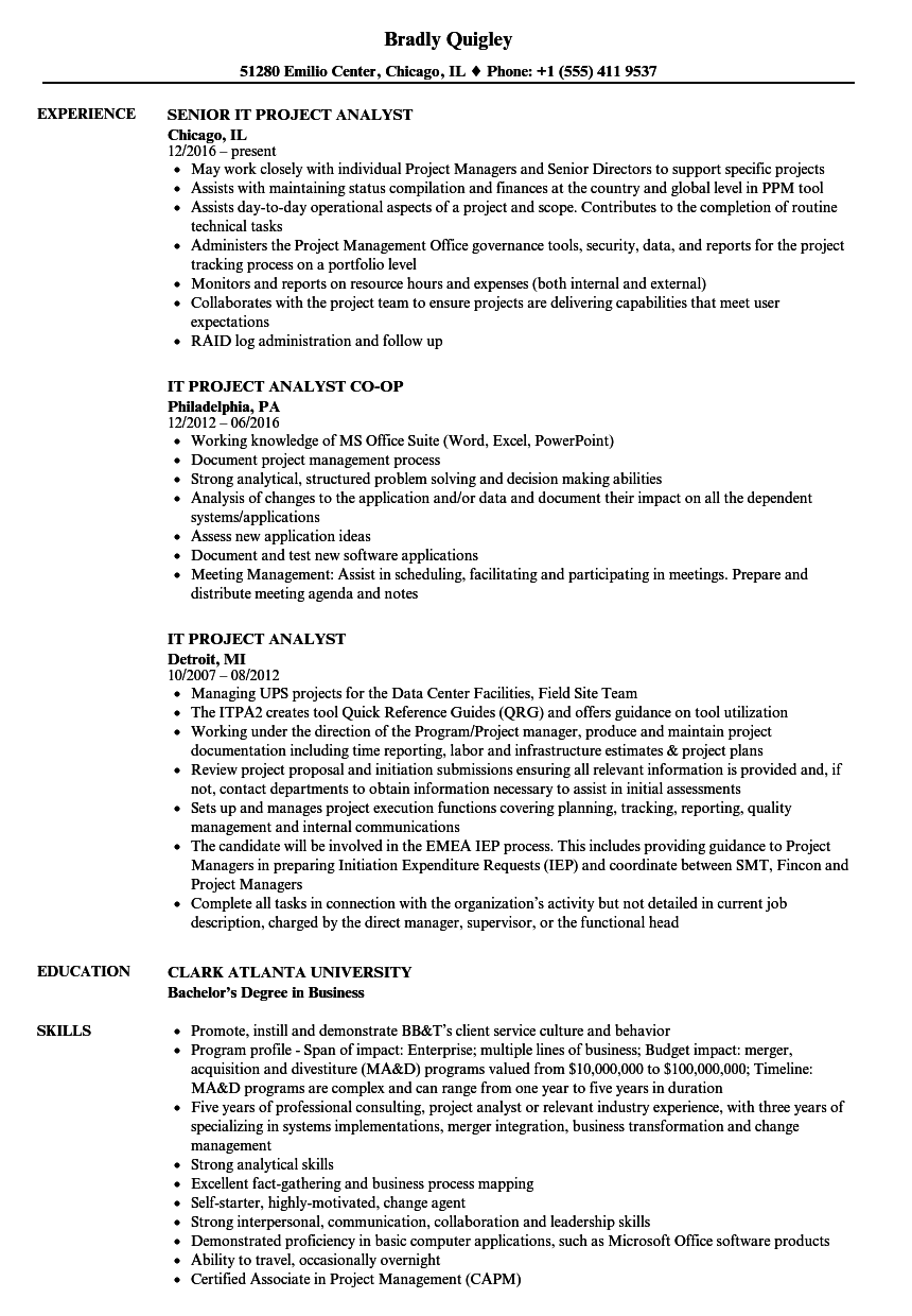 it project analyst resume sles velvet