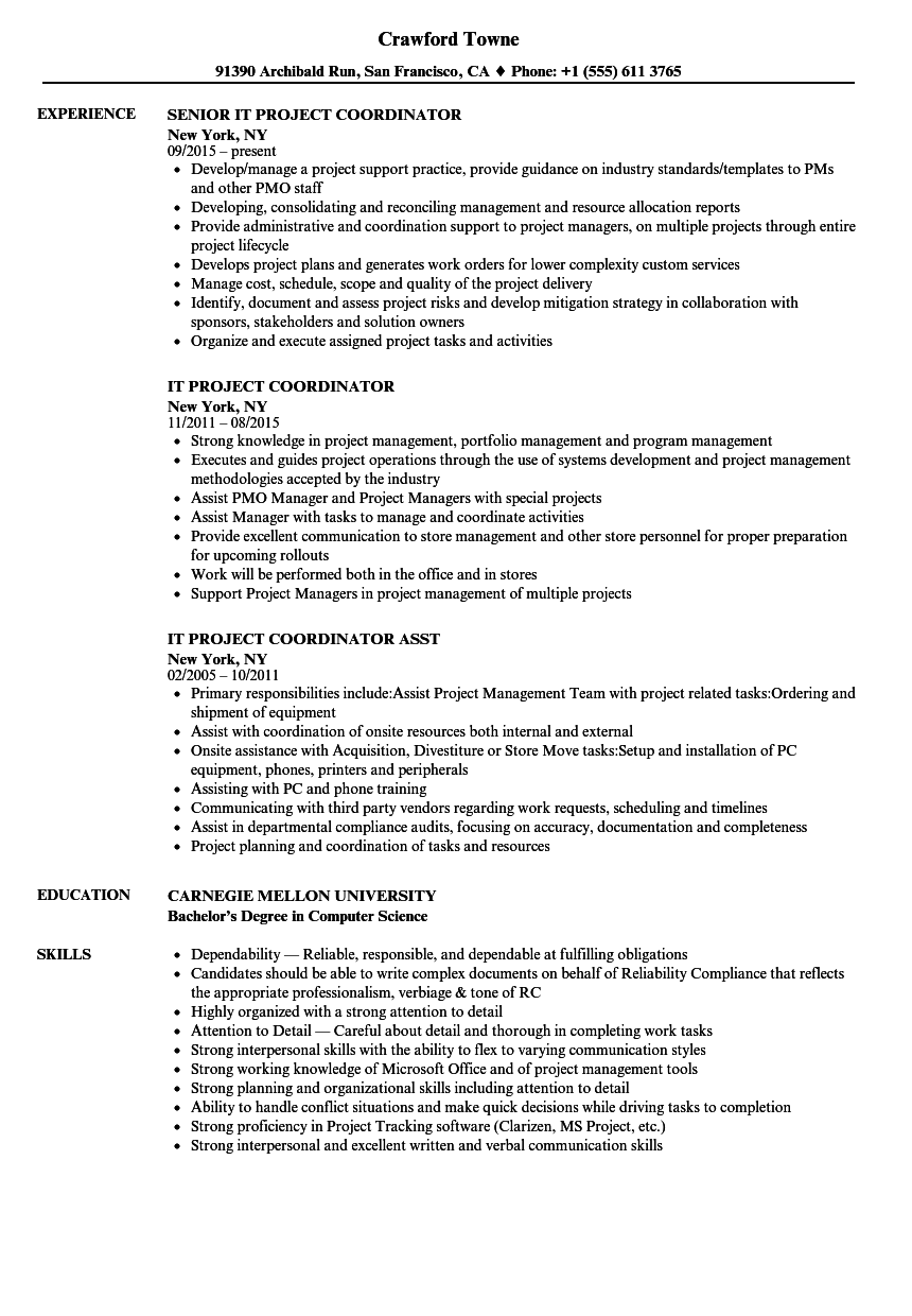 Project Coordinator Description Resume