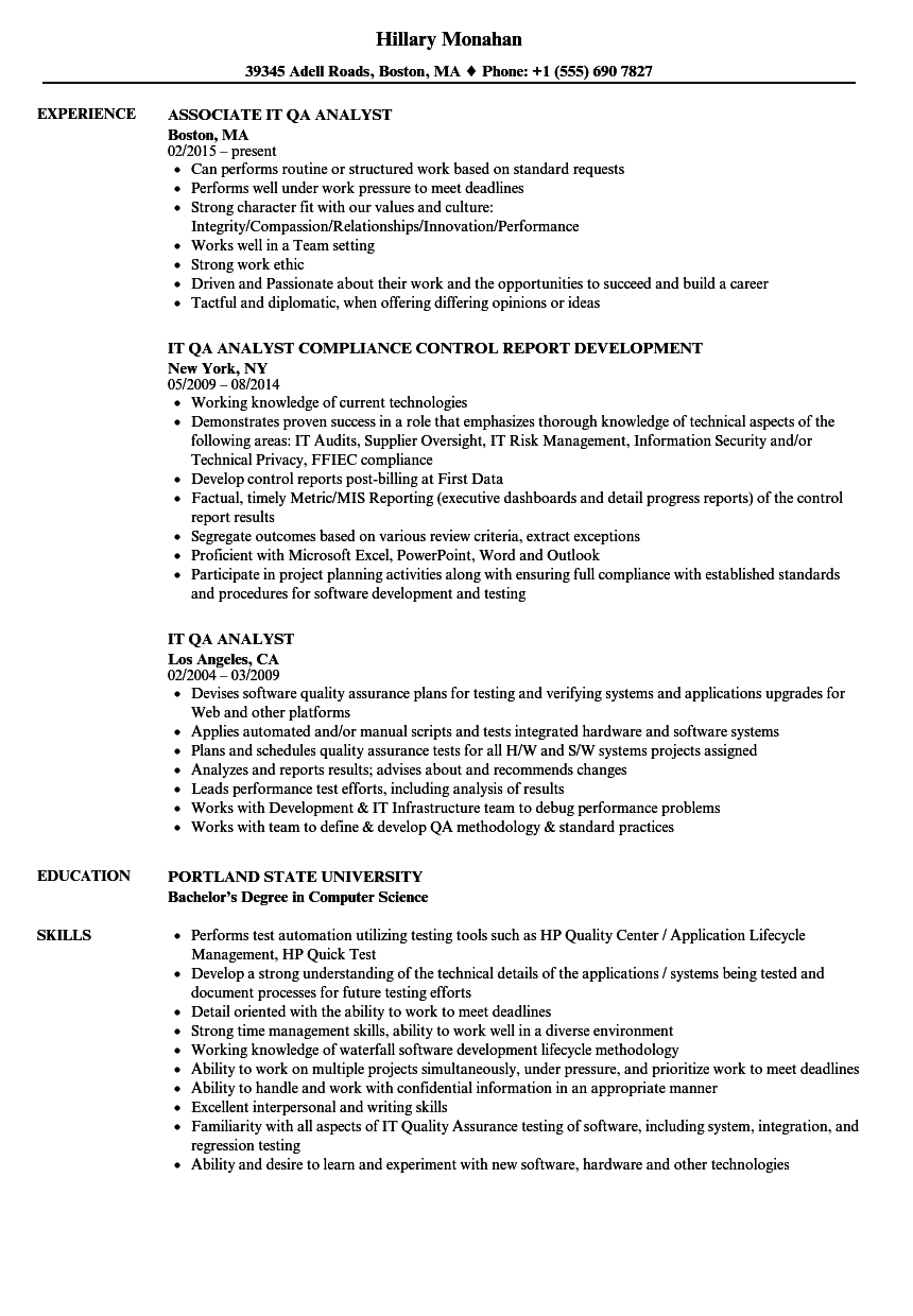 IT QA Analyst Resume Samples | Velvet Jobs