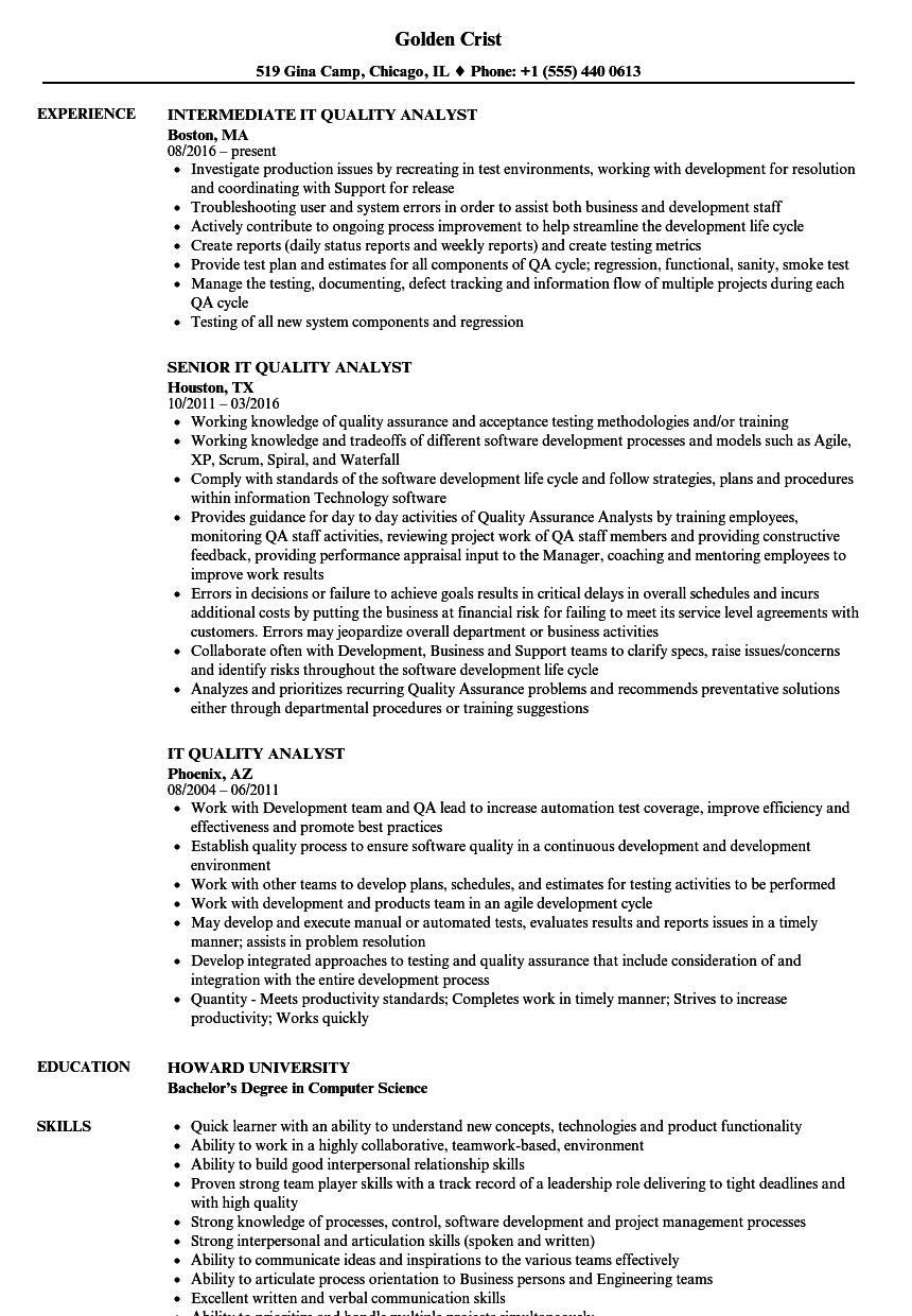 IT Quality Analyst Resume Samples | Velvet Jobs