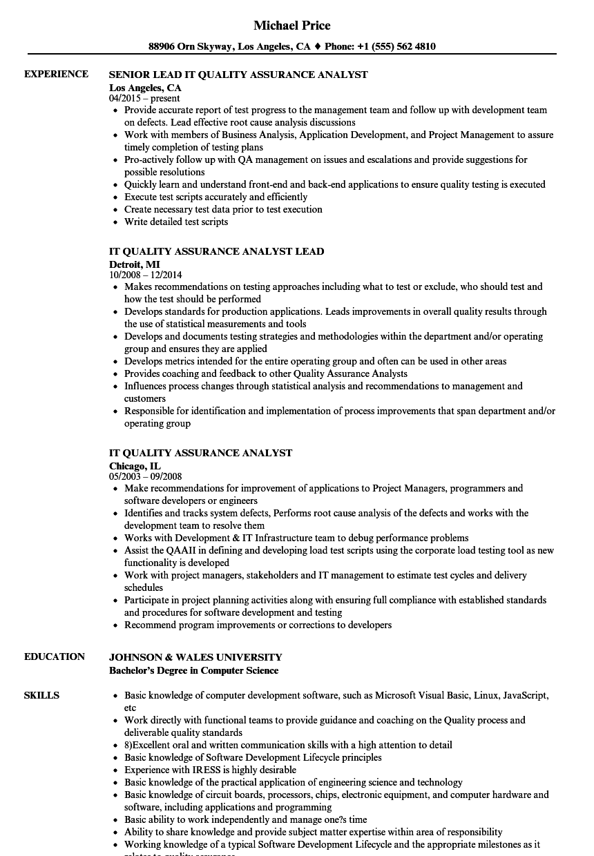 it quality assurance analyst resume samples