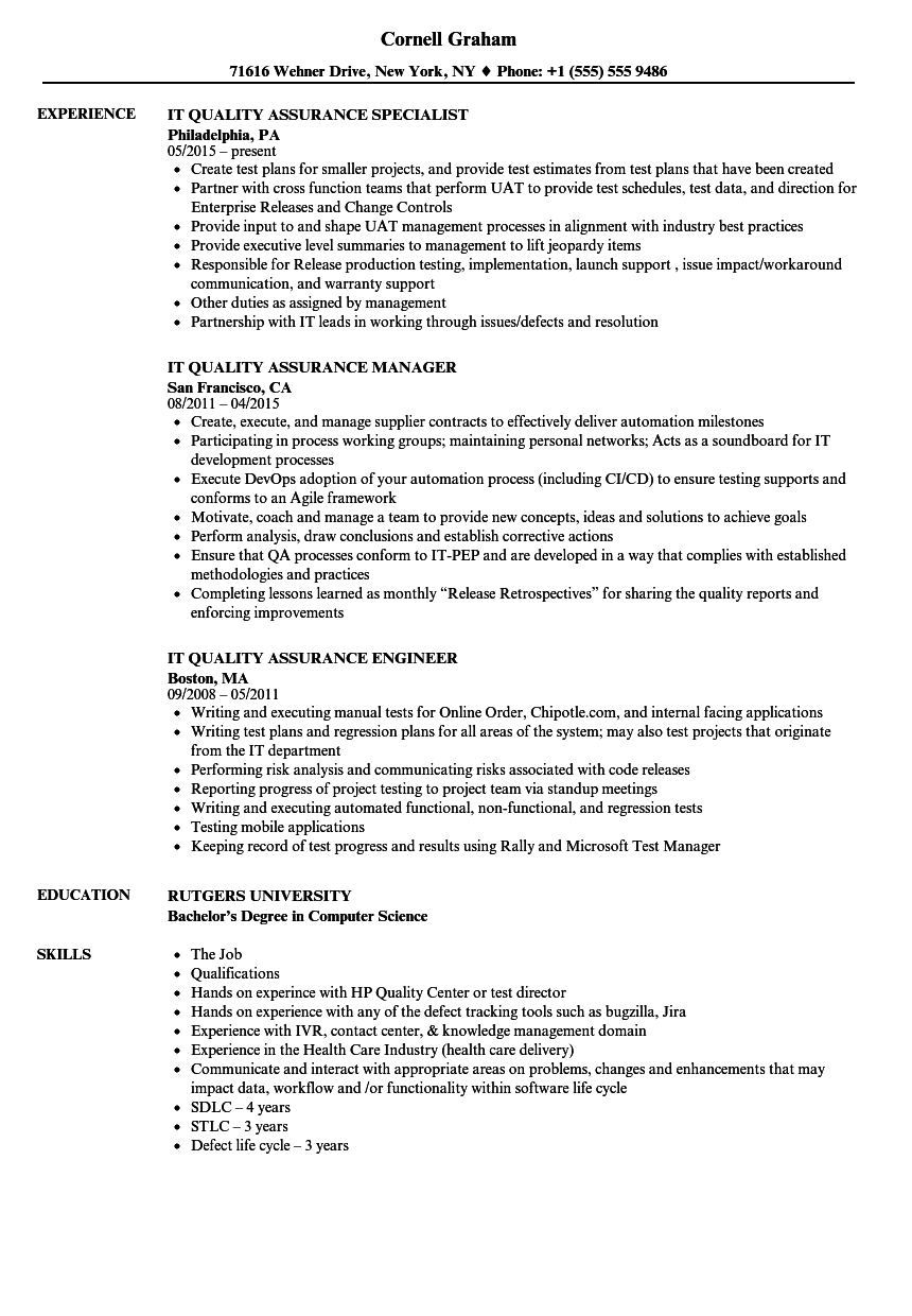 it quality assurance resume samples