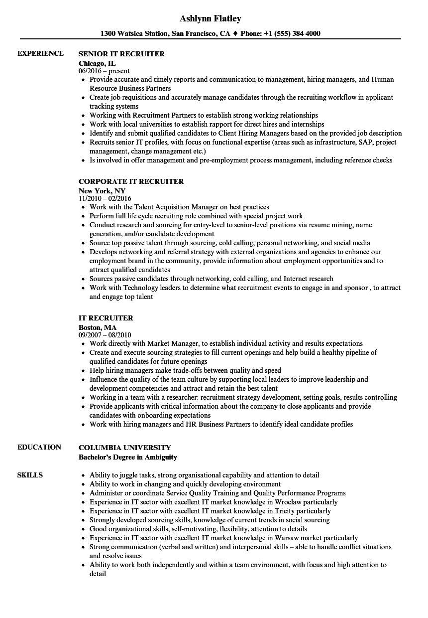 It Recruiter Resume It Recruiter Resume Samples  Velvet Jobs
