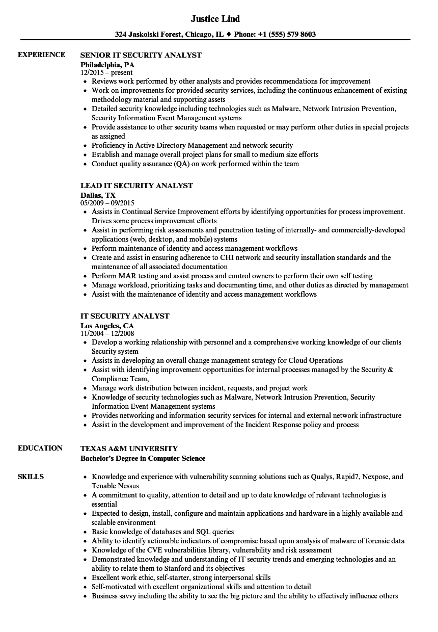 It Security Analyst Resume Samples Velvet Jobs