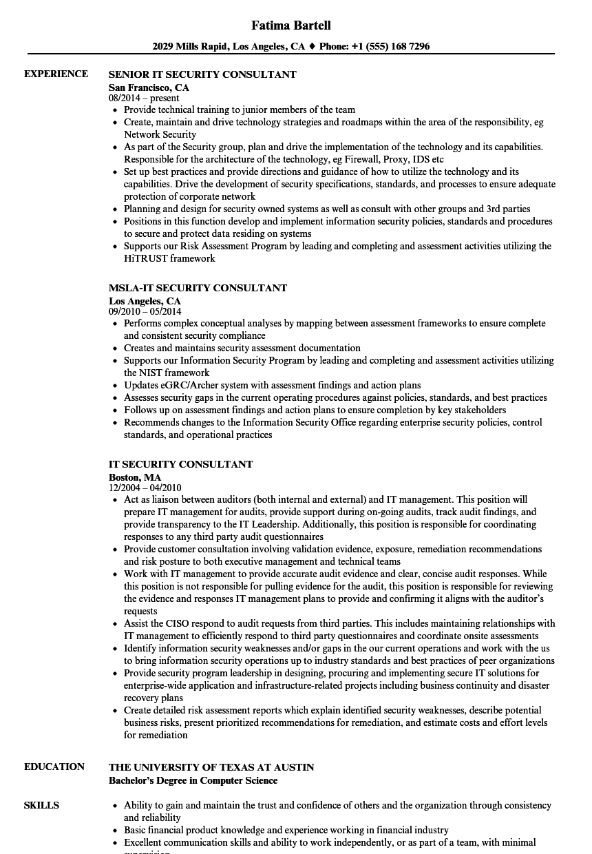 it security consultant resume samples