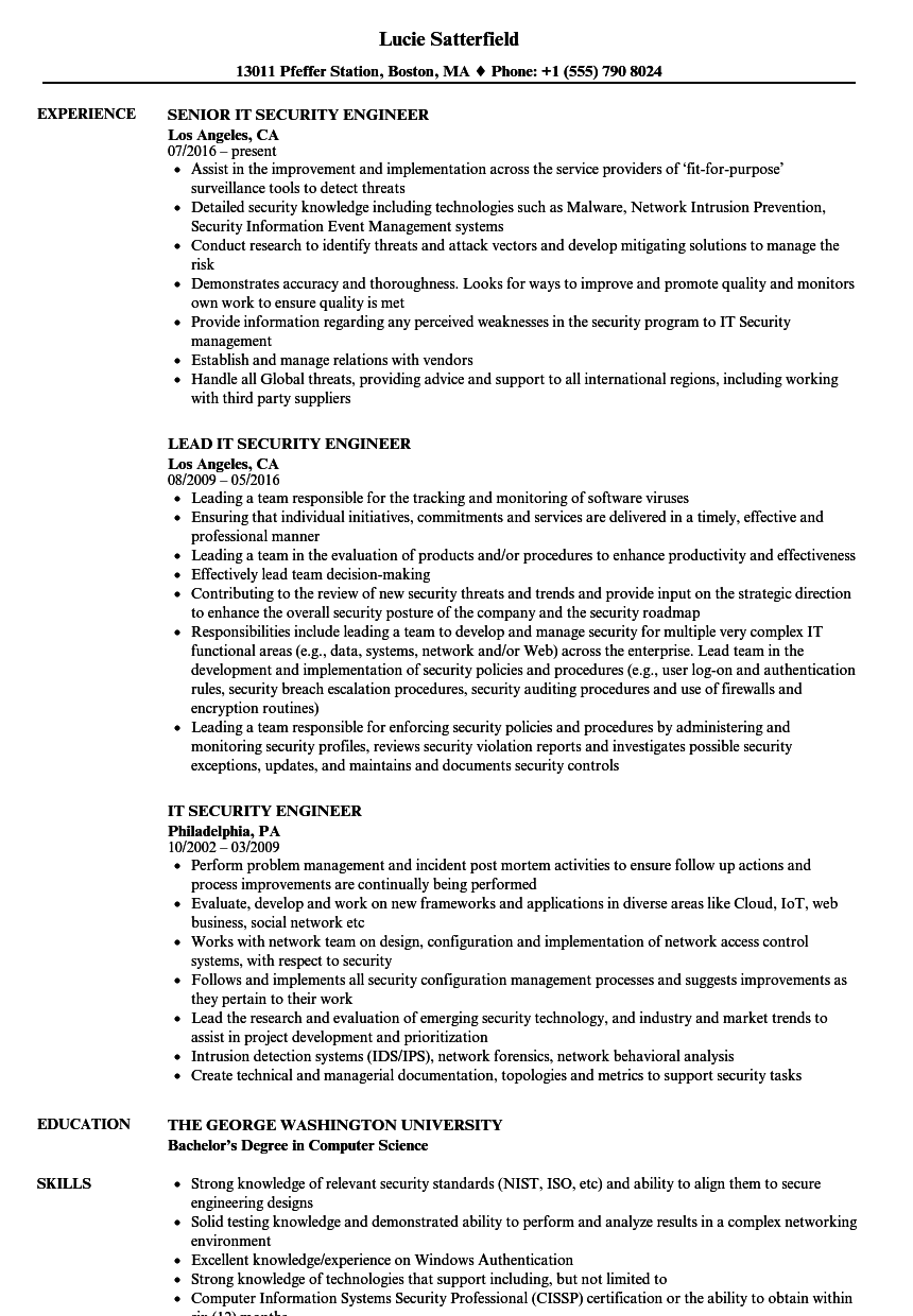 it security engineer resume samples