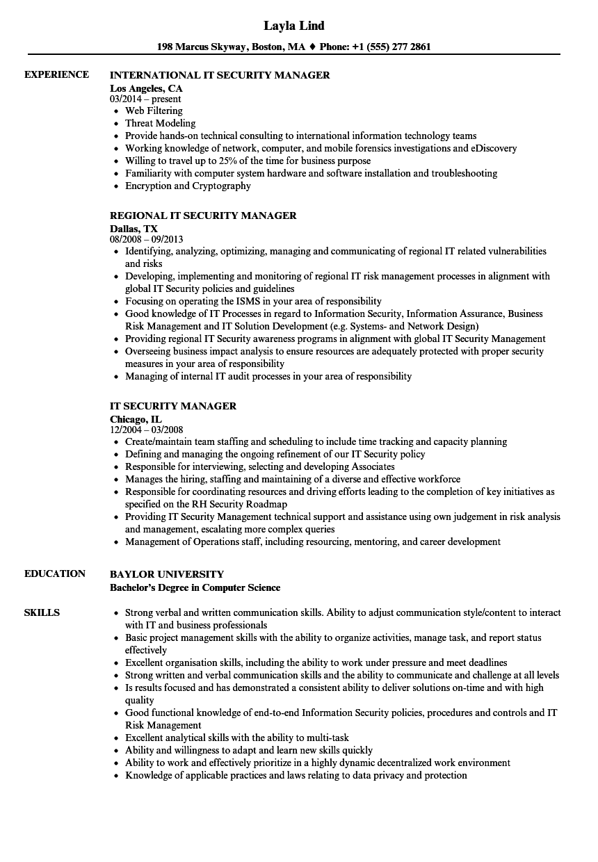 Download IT Security Manager Resume Sample As Image File