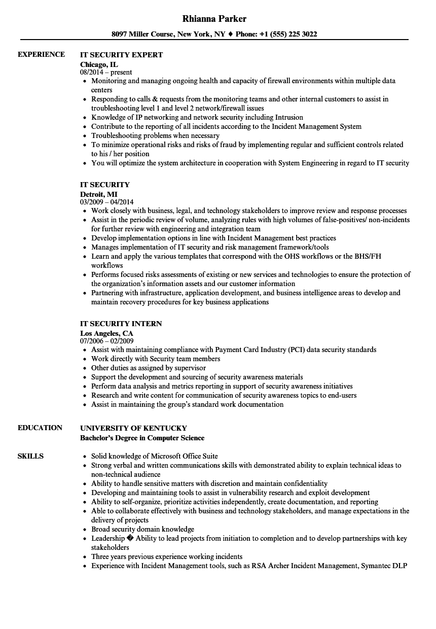 Download IT Security Resume Sample As Image File
