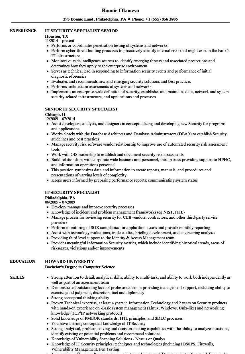 It Security Specialist Resume Samples Velvet Jobs