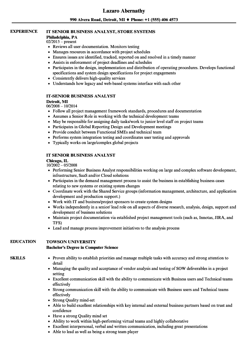 It Senior Business Analyst Resume Samples Velvet Jobs
