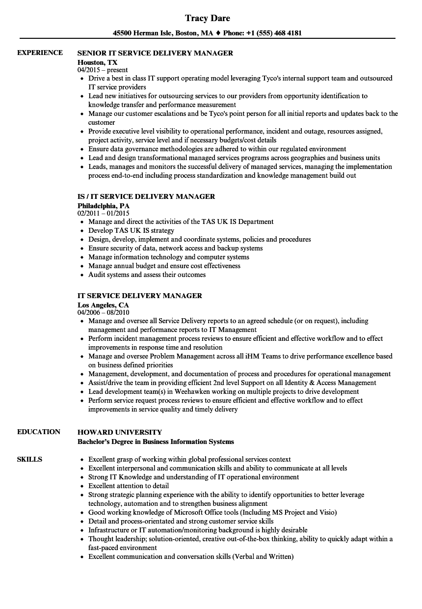 it service delivery manager resume samples