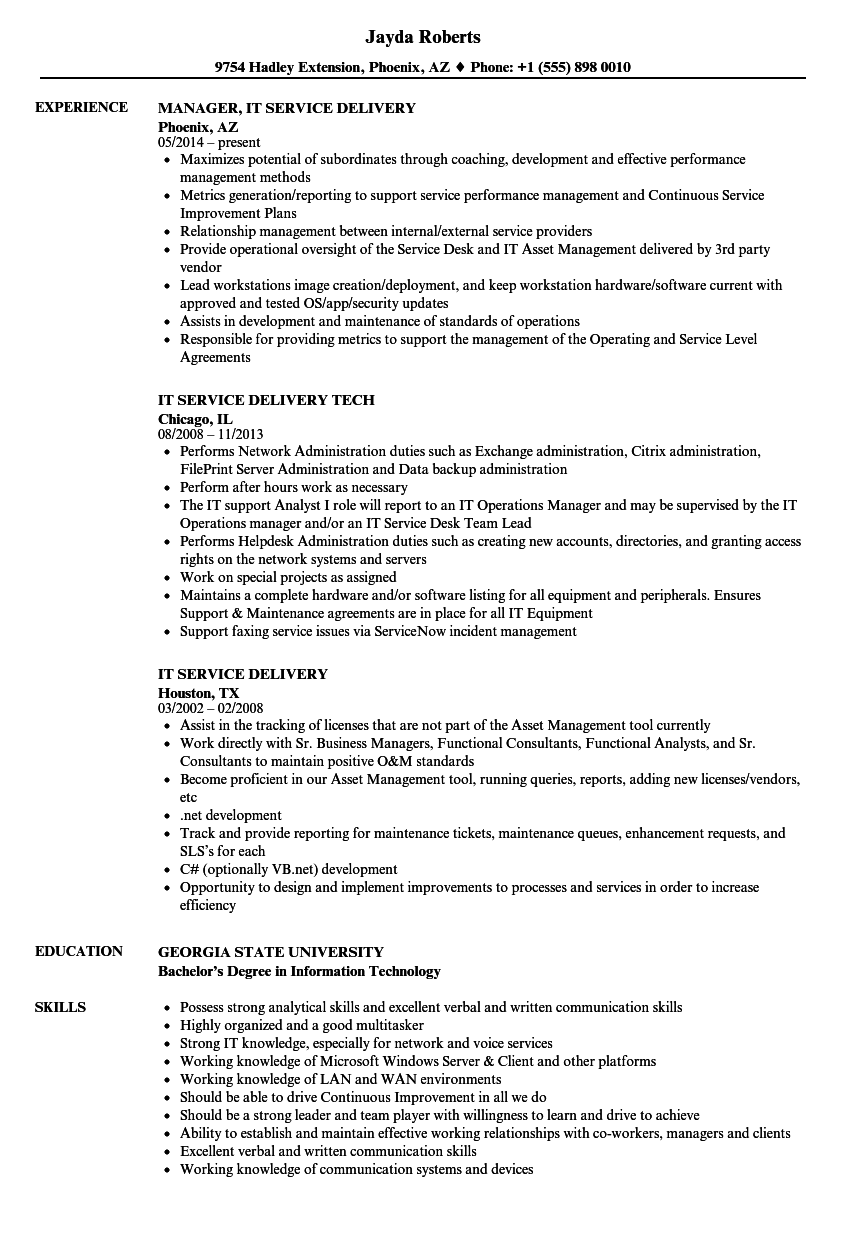 it service delivery resume samples