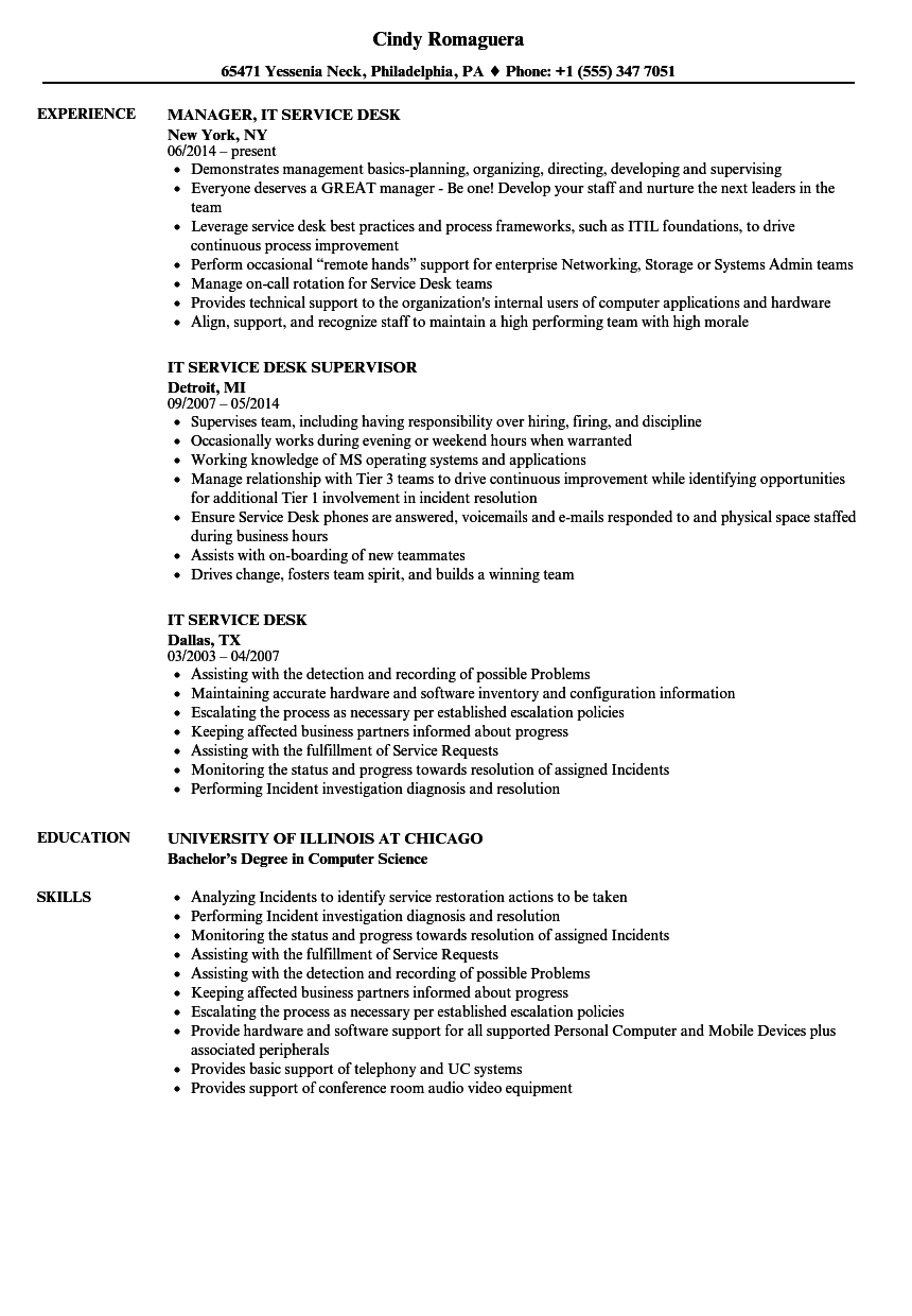 it service desk resume samples