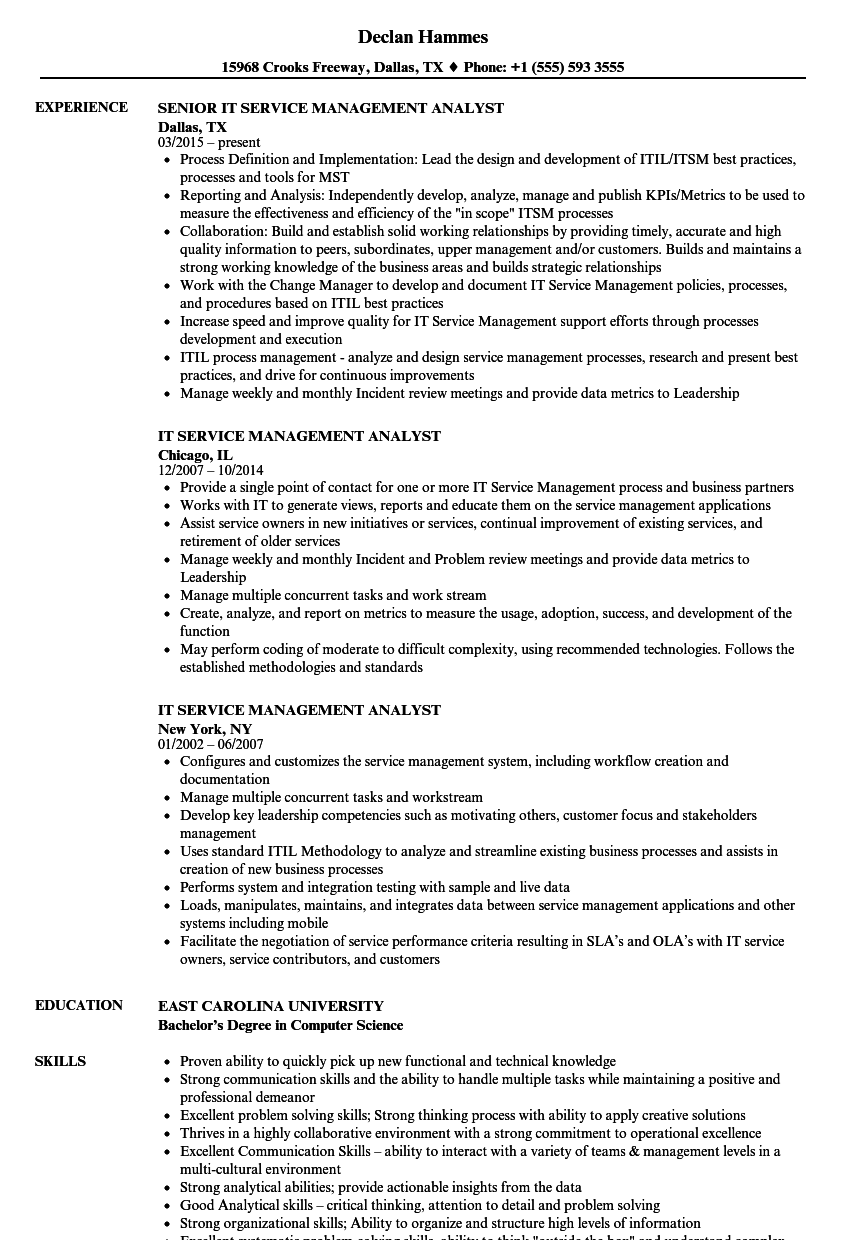 It Service Management Analyst Resume Samples Velvet Jobs