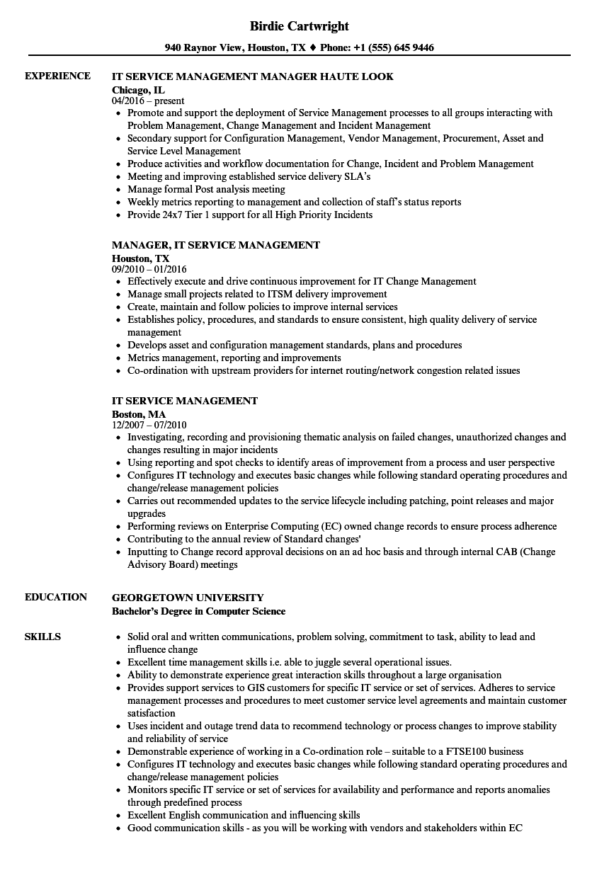 It Service Management Resume Samples Velvet Jobs