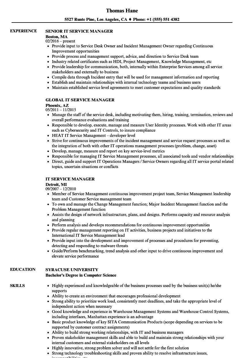 It Service Manager Resume Samples Velvet Jobs