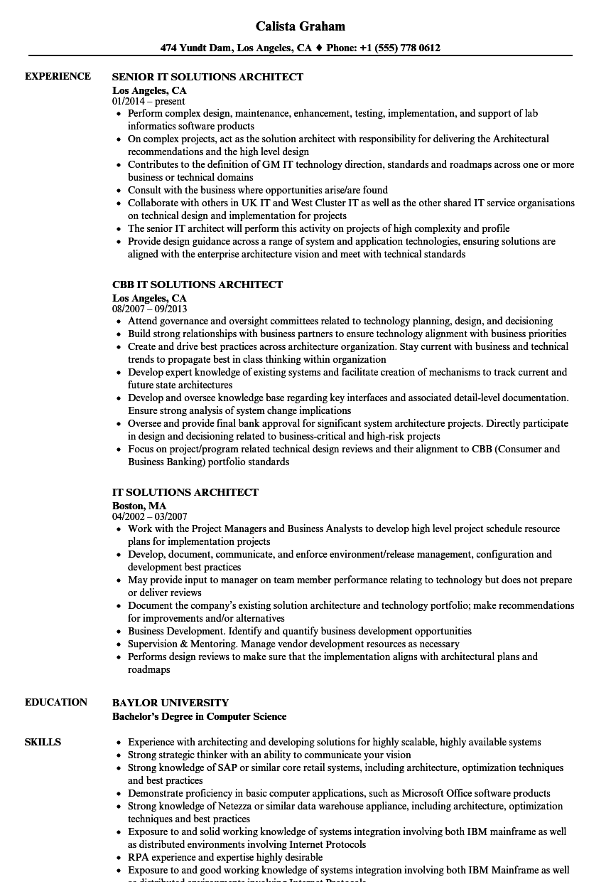 it solutions architect resume samples
