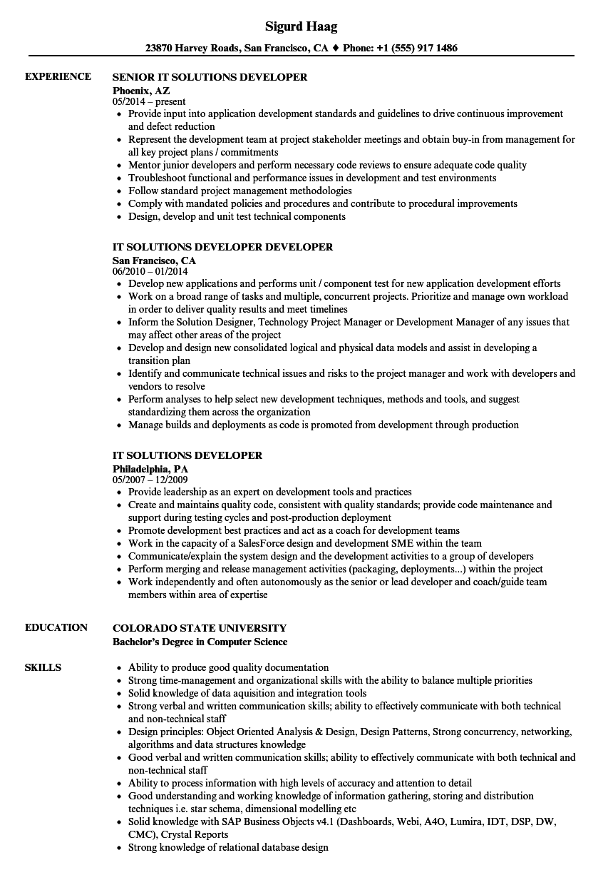it solutions developer resume samples