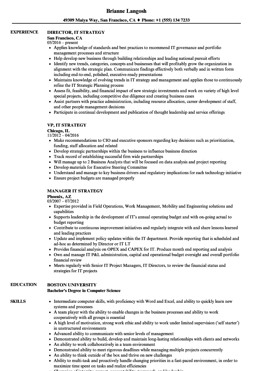 it strategy resume samples
