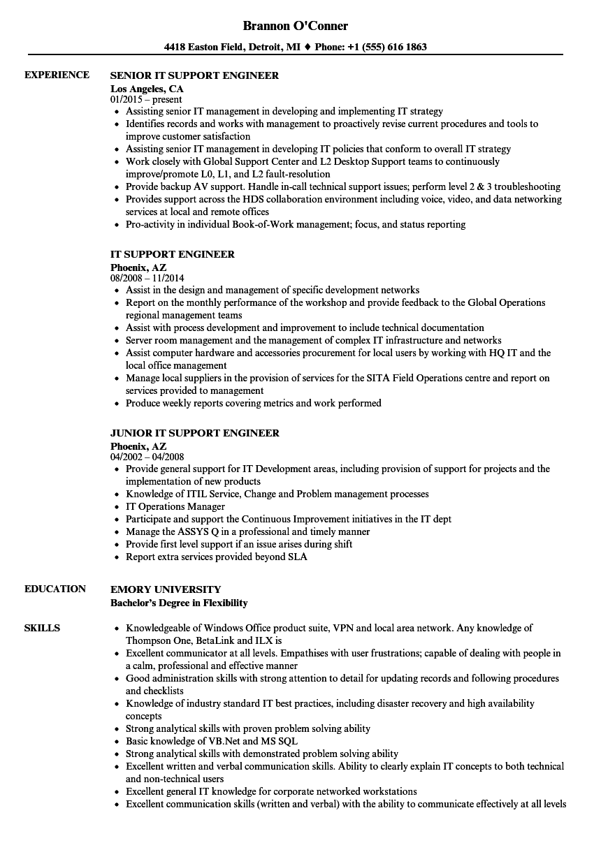 IT Support Engineer Resume Samples
