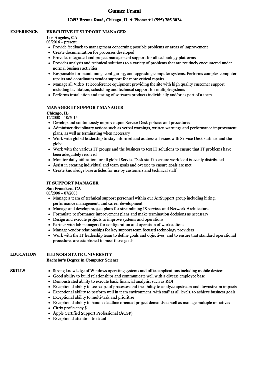 IT Support Manager Resume Samples Velvet Jobs