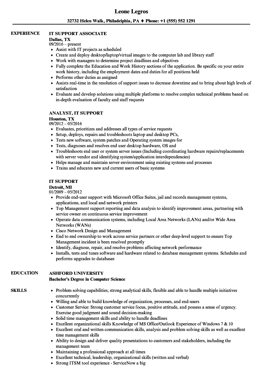 it support resume samples