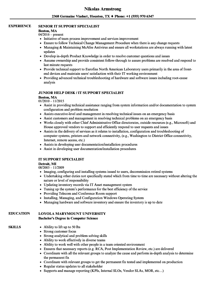download it support specialist resume sample as image file - It Support Resume