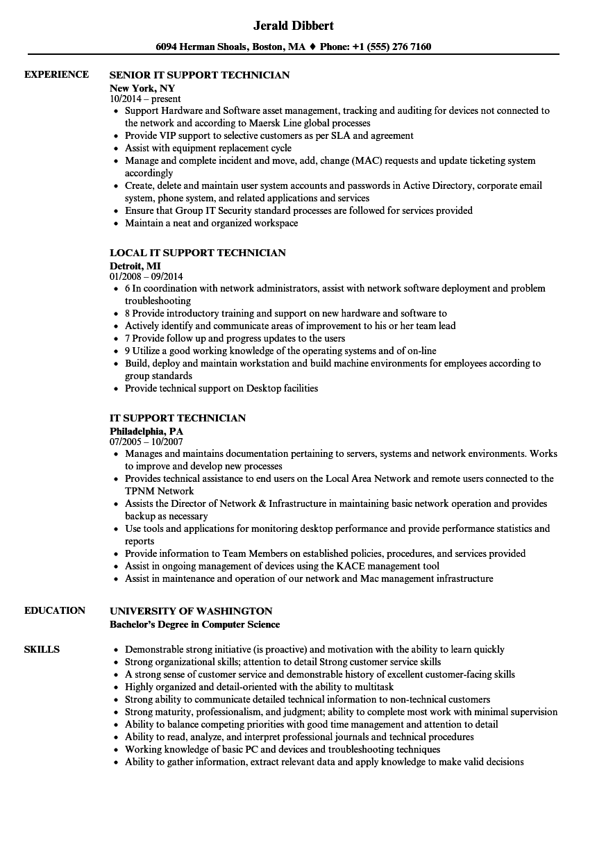IT Support Technician Resume Samples Velvet Jobs