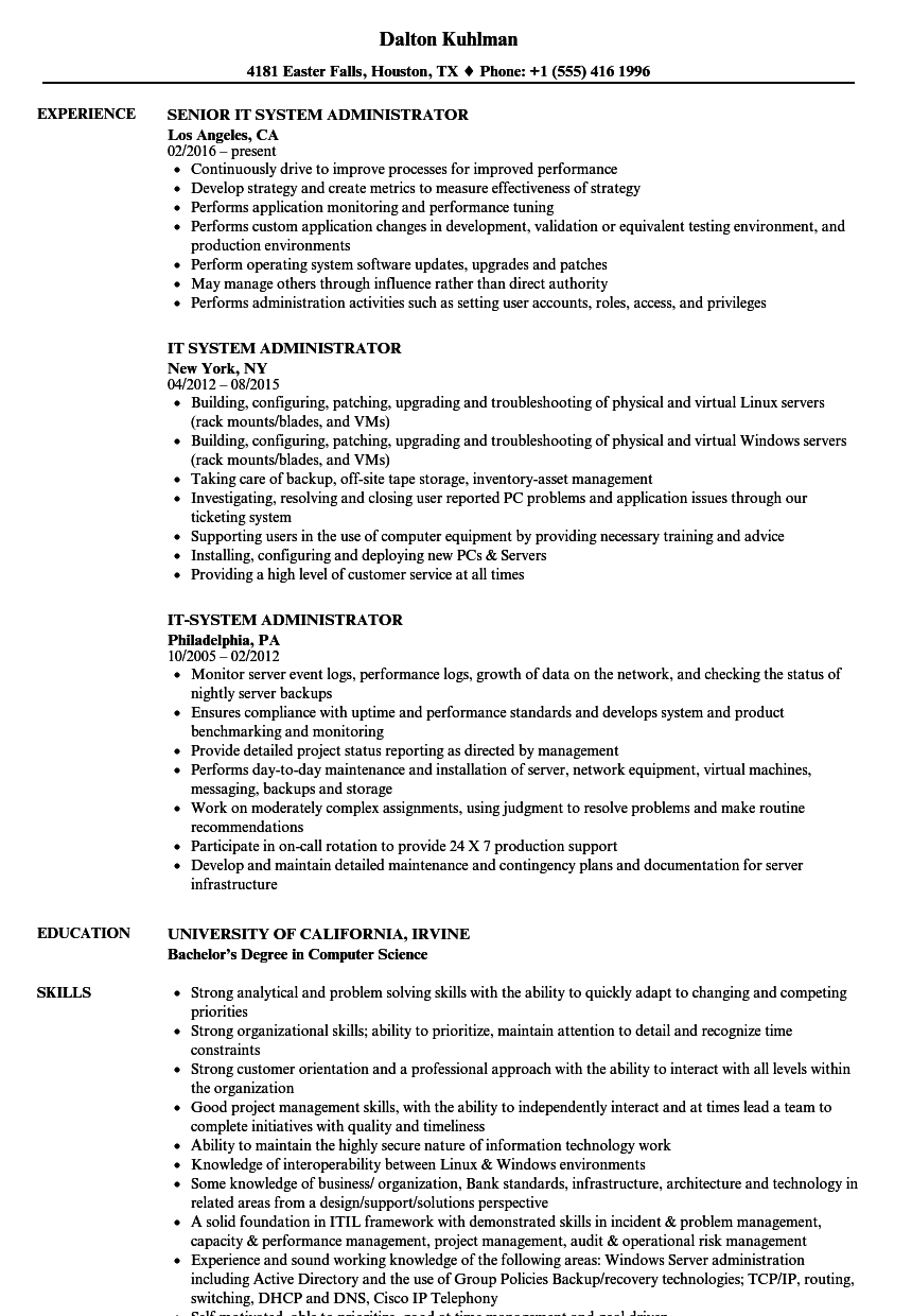 IT System Administrator Resume Samples Velvet Jobs