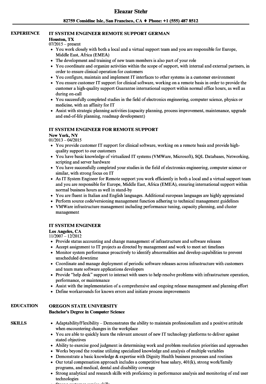 download it system engineer resume sample as image file