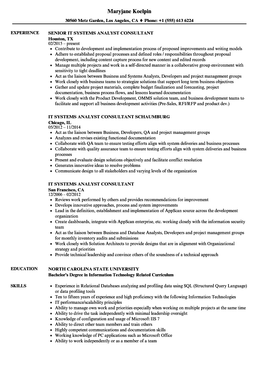 it systems analyst consultant resume samples velvet jobs