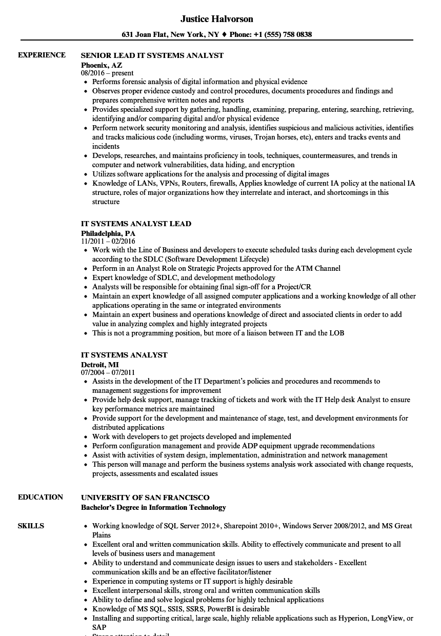 Velvet Jobs  Systems Analyst Resume