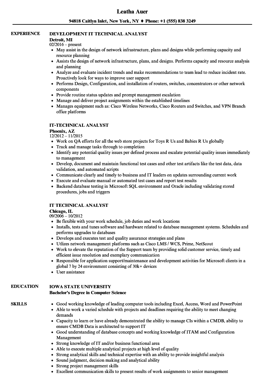 it technical analyst resume samples
