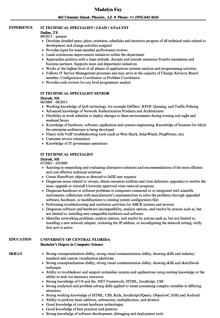 It Technical Specialist Resume Samples Velvet Jobs