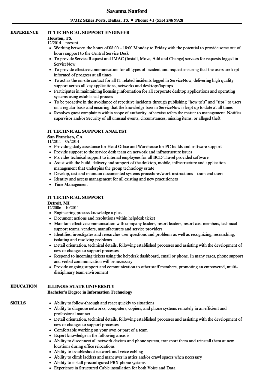 resume Resume Format For Technical Support it technical support resume samples velvet jobs download sample as image file
