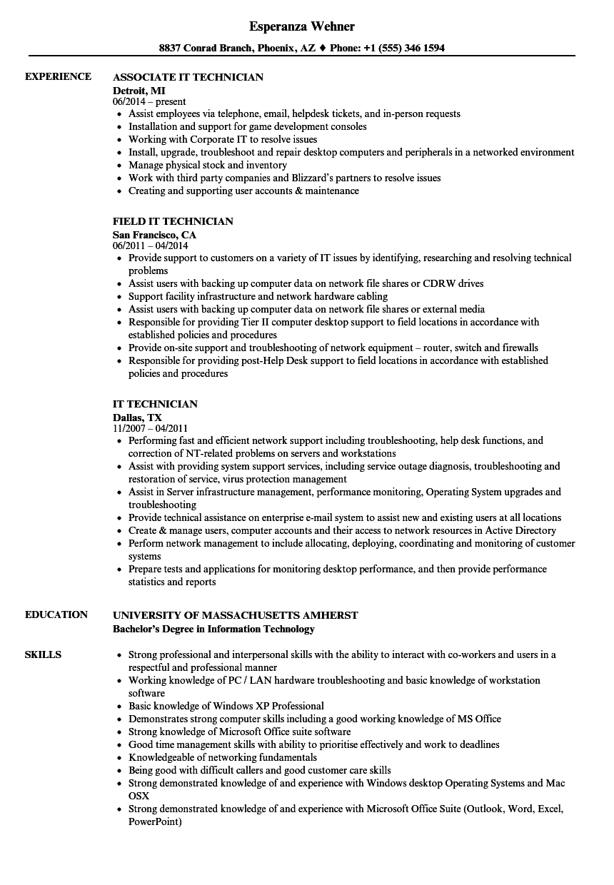 IT Technician Resume Samples | Velvet Jobs