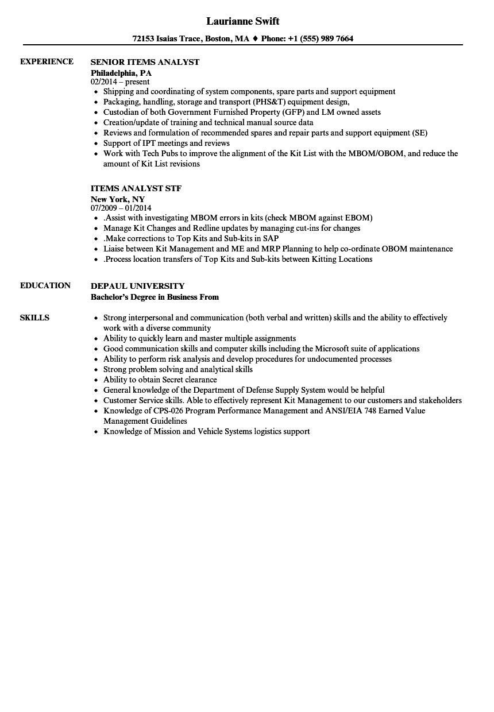 Items Analyst Resume Samples | Velvet Jobs