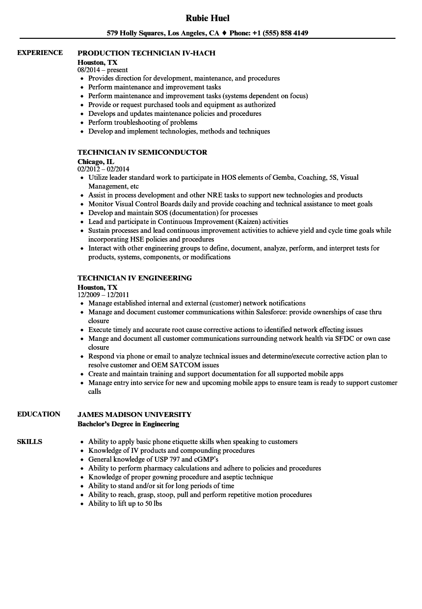IV Technician Resume Samples | Velvet Jobs