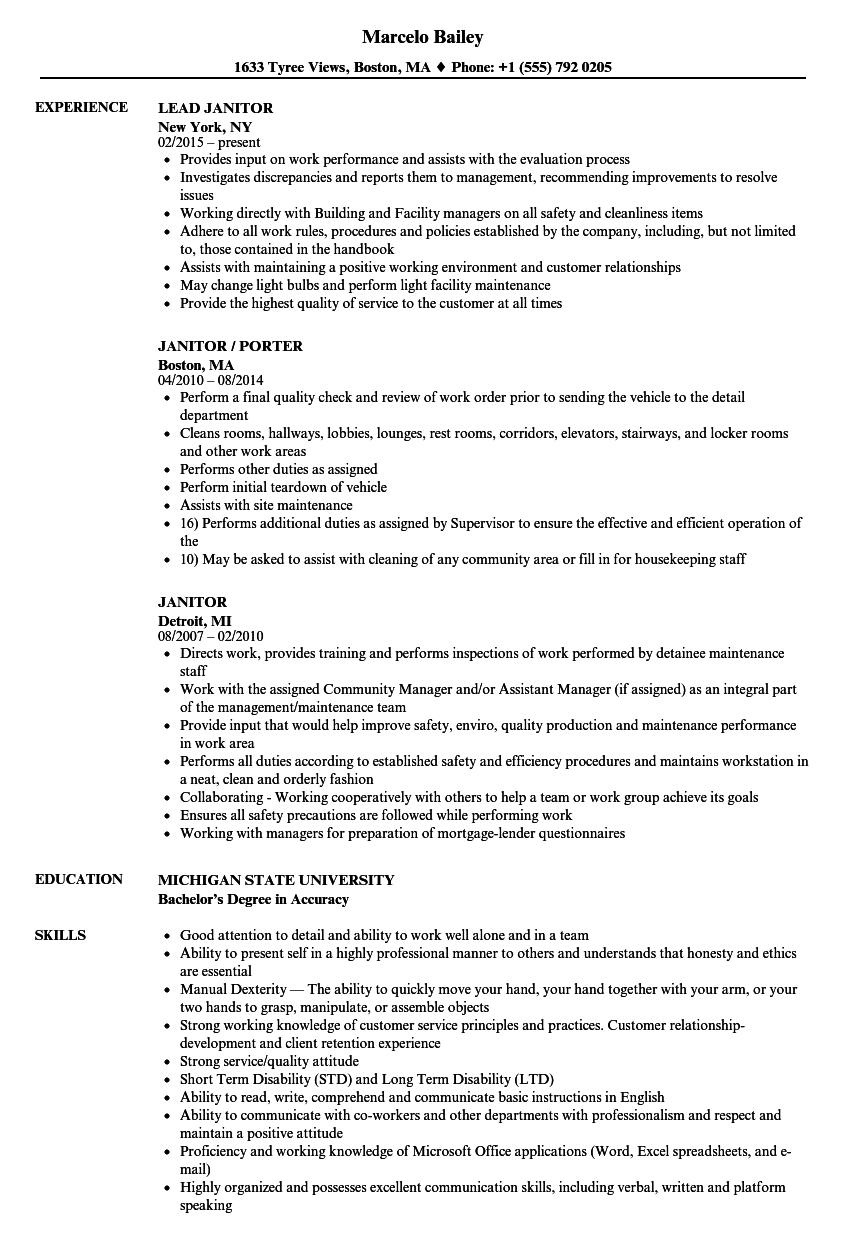 Download Janitor Resume Sample As Image File