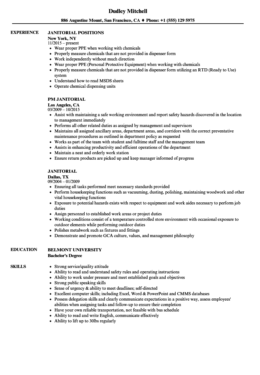 Janitorial Resume Samples Velvet Jobs