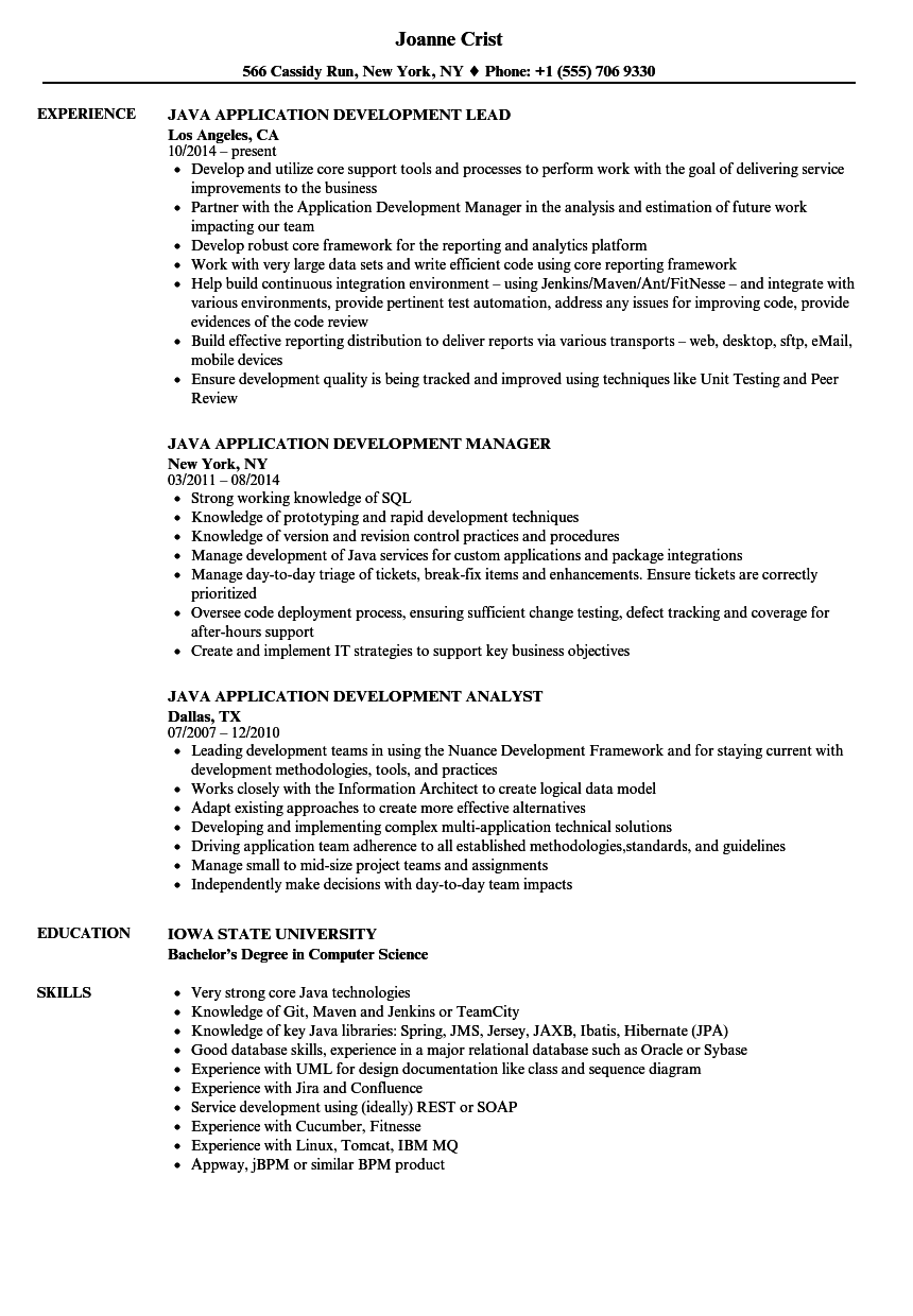java application development resume samples velvet jobs