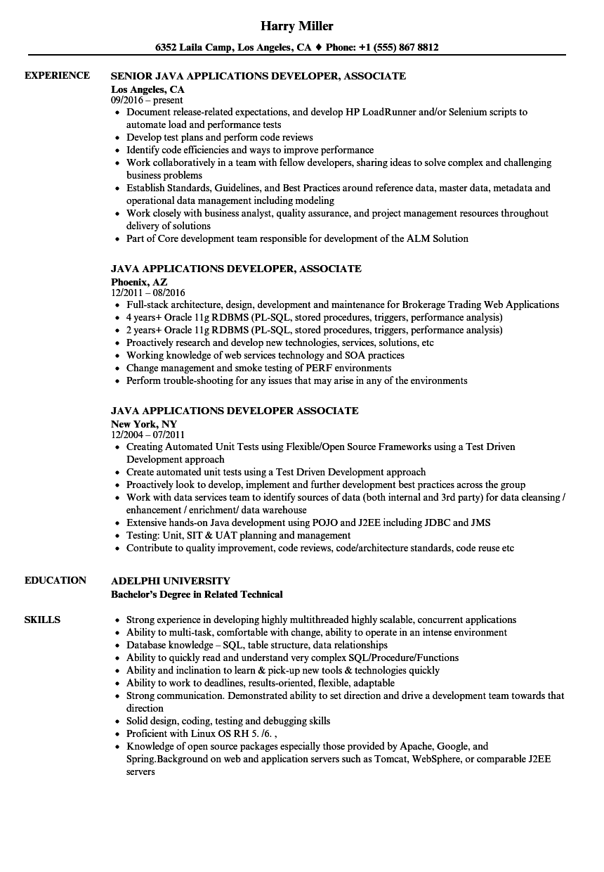 Sample Java Jee Developer Resume